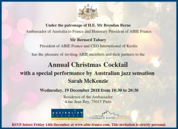 ABIE France Annual Christmas Cocktail, 19 December 2018