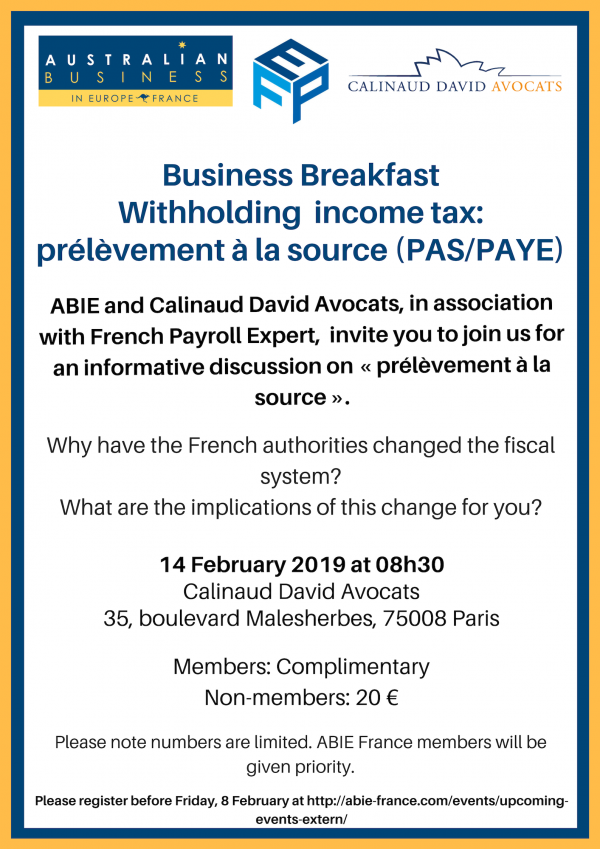 Business Breakfast - Withholding income tax: prélèvement à la source (PAS/PAYE), 14 February 2019
