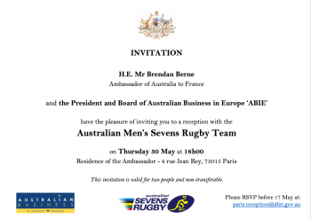Reception with the Australian Men's Rugby Sevens' Team